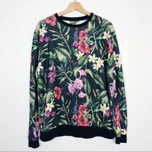 ASOS Tropical Floral Print Oversized Sweatshirt